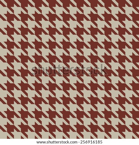 Seamless beige and red vintage houndstooth vector pattern. - stock vector