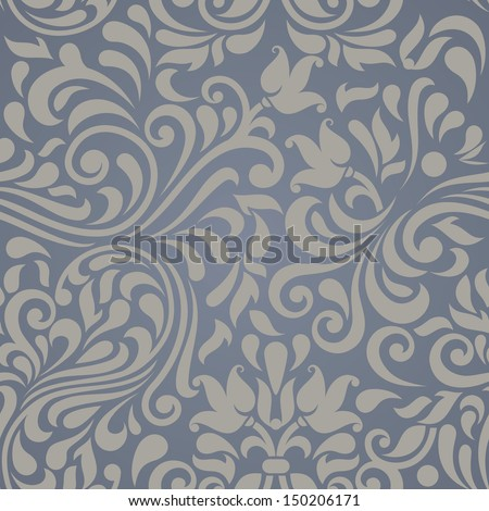Seamless  beige pattern on blue background in the style of Damascus