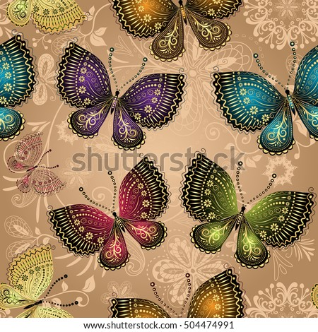 Seamless beige pattern with bright colorful butterflies and bright lace floral pattern, vector