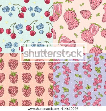 Seamless berries pattern set. Vector background with cherries, blueberries, strawberries, raspberries. - stock vector