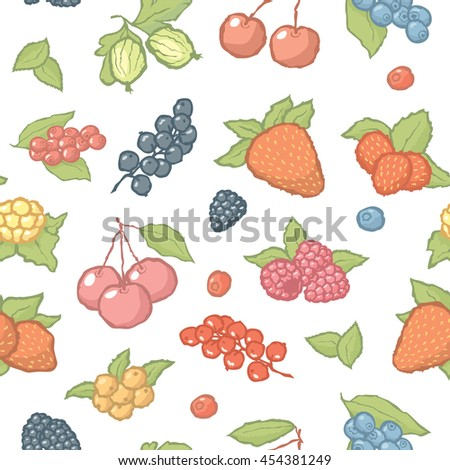 Seamless berries pattern. Vector background with hand made fruits - stock vector