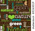 Seamless bio eco environment typography pattern in vector - stock photo
