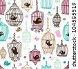 Seamless bird cage love kids background pattern in vector - stock vector