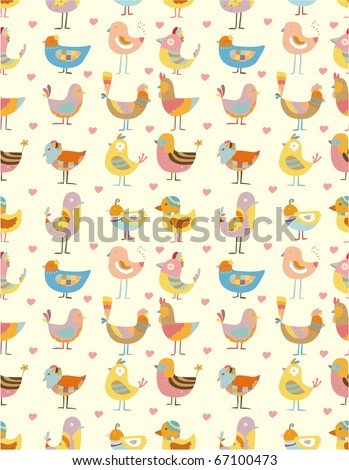 seamless bird pattern - stock vector