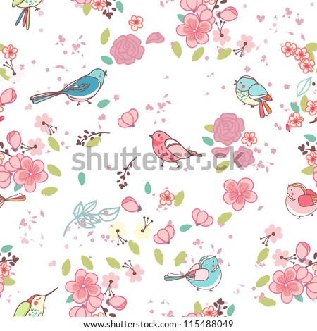 seamless bird theme pattern - stock vector