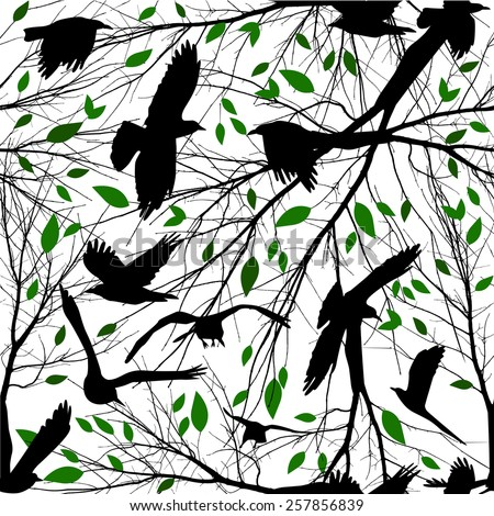 Seamless birds and tree branches. Vector - stock vector