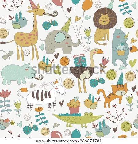 Seamless birthday background with Africa animals.  Cute   lion, elephant,   ostrich, alligator, rhino, hippo, giraffe, tiger and zebra in cartoon style. - stock vector