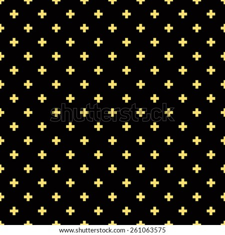 Seamless black and gold luxury op art plus cross symbol pattern vector - stock vector