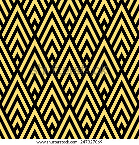 Seamless black and gold rhombic chevrons art deco pattern vector - stock vector