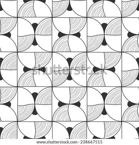 Seamless black and white abstract decorative pattern - stock vector
