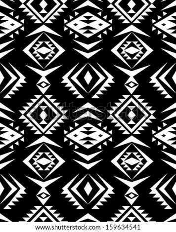 seamless black and white aztec print pattern background - stock vector