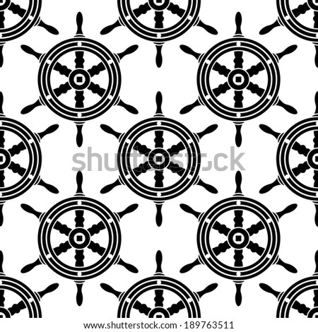 Seamless black and white background pattern of antique wooden ships wheel in square format for nautical themed wallpaper or textile design - stock vector
