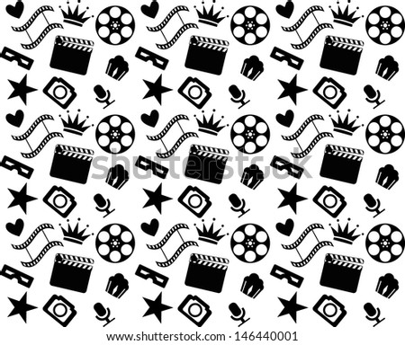 Seamless black and white cinema pattern - stock vector