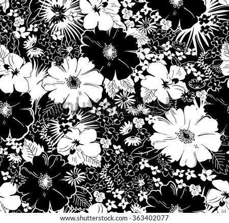 Seamless Black White Floral Pattern Stock Vector 363402077 ...