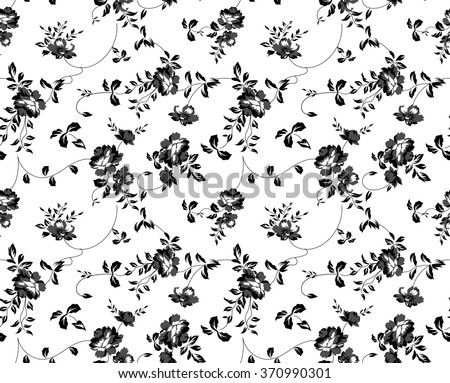 seamless black and white floral pattern - stock vector