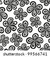 Seamless black and white floral pattern. Vector illustration - stock photo