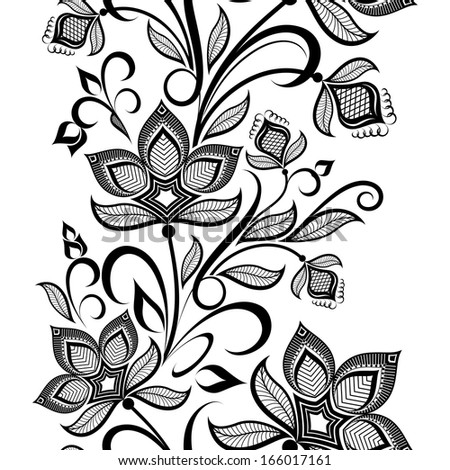 Seamless black and white floral vintage vertical vector pattern. - stock vector