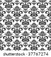 Seamless black and white floral wallpaper - stock vector