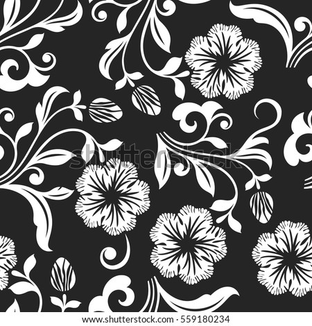 Seamless black and white flower vector background seamless textile print or wrapping paper template