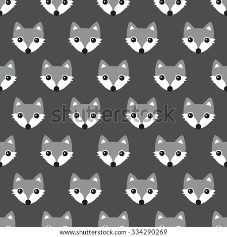 Seamless black and white foxes cute kids woodland fox theme gender neutral illustration background pattern in vector - stock vector