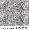 Seamless black and white  grass vector patterned background - stock vector