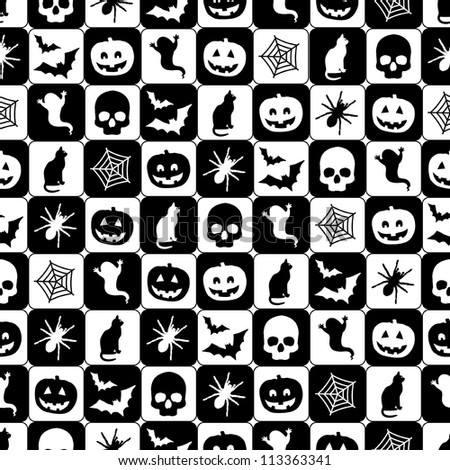 seamless black and white halloween pattern with clipping path - Halloween Black And White