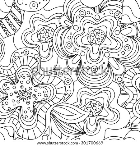Seamless black and white hand-drawn pattern with flowers. Sketchy ornate zentangle texture with abstract flowers. - stock vector