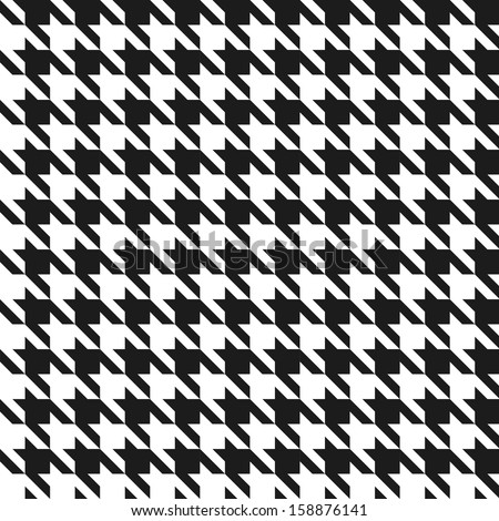 Seamless black and white houndstooth vector pattern. - stock vector