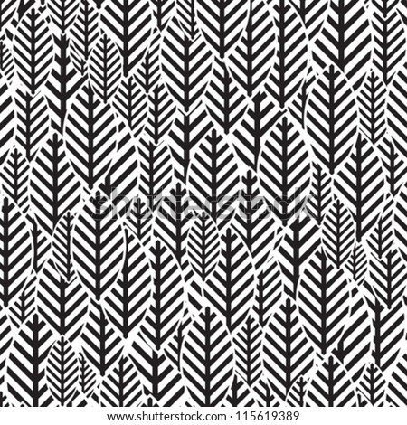 Seamless black and white leaf pattern - stock vector