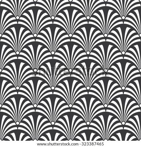 Seamless black and white luxury art deco peacock textile pattern vector