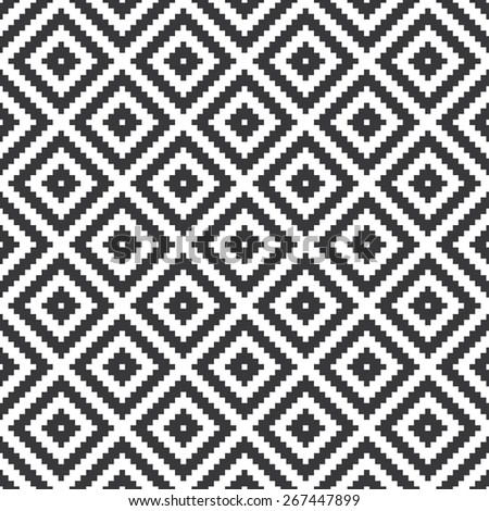 Seamless black and white op art ethnic pixel tribal textile pattern vector - stock vector