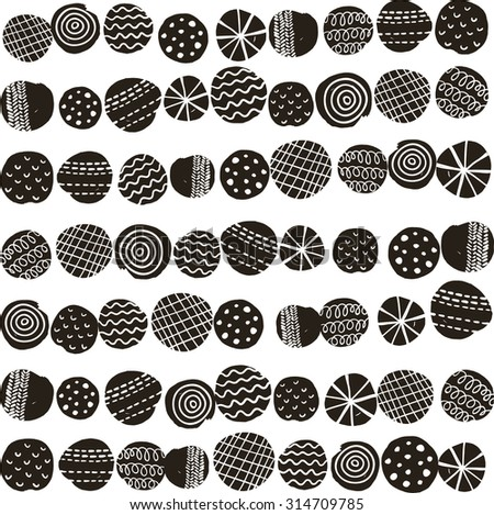 Seamless black and white pattern in scandinavian stile. Vector illustration.