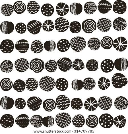 Seamless black and white pattern in scandinavian stile. Vector illustration. - stock vector