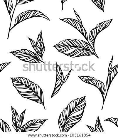 Seamless black-and-white pattern with leaves in vintage style. Background for your design wallpapers, pattern fills, web page, surface textures