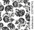 Seamless black-and-white peony wallpaper pattern.  Vector monochrome background	 - stock vector