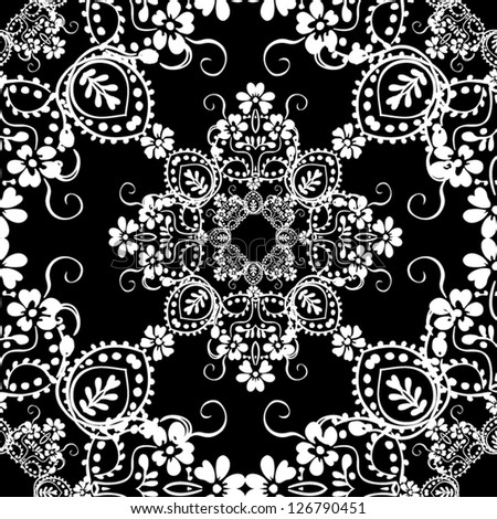 Seamless black and white vector pattern. Abstract seamless background with leaves and flowers Paisley Floral Design - stock vector