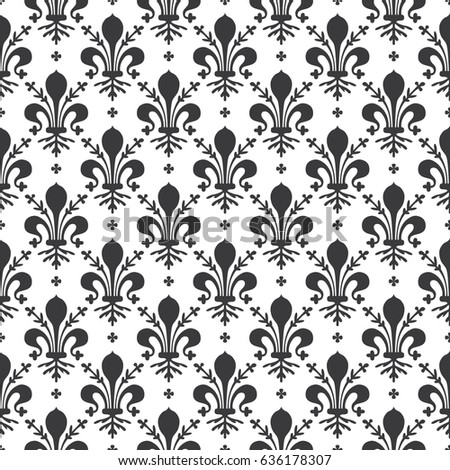 Seamless Black White Vintage Ornate French Stock Vector 636178307