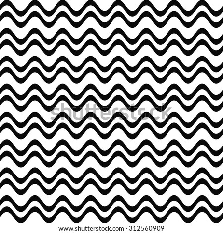Seamless black and white wave pattern - stock vector