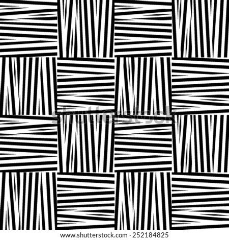 Seamless black and white weave texture. Vector illustration background - stock vector