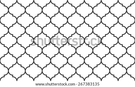 Seamless black and white wide moroccan pattern vector - stock vector