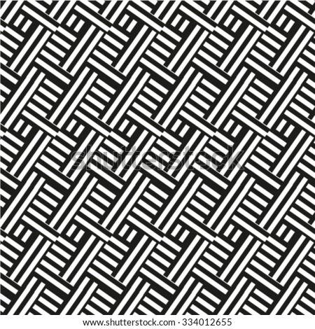 Seamless black and white woven pattern vector