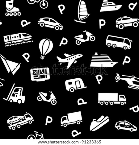 Seamless black background, white transport icons. Wrapping paper