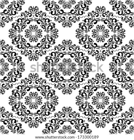 Seamless black damask Pattern on the white Background. - stock vector