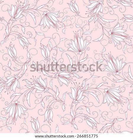 seamless  black floral background - stock vector