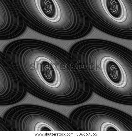 Seamless black, gray and white ellipse pattern design - stock vector