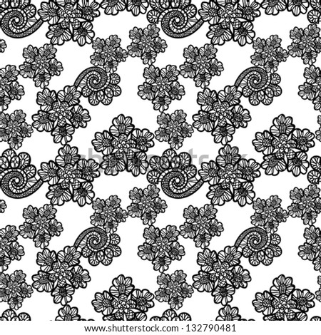 seamless black lace background - stock vector