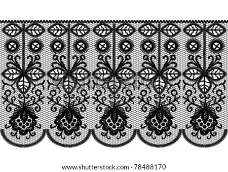 Seamless black lace stripe pattern
