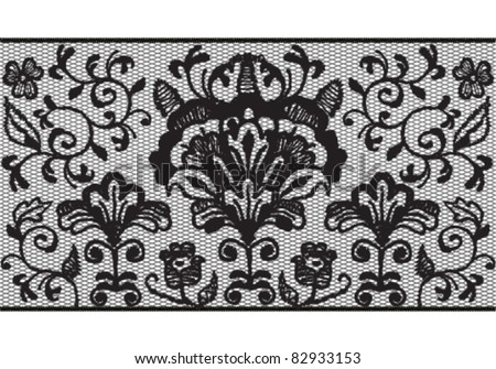 Seamless black lace stripe pattern - stock vector