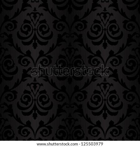 seamless black silk wallpaper pattern - stock vector