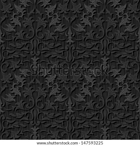 seamless black silk wallpaper pattern - stock vector